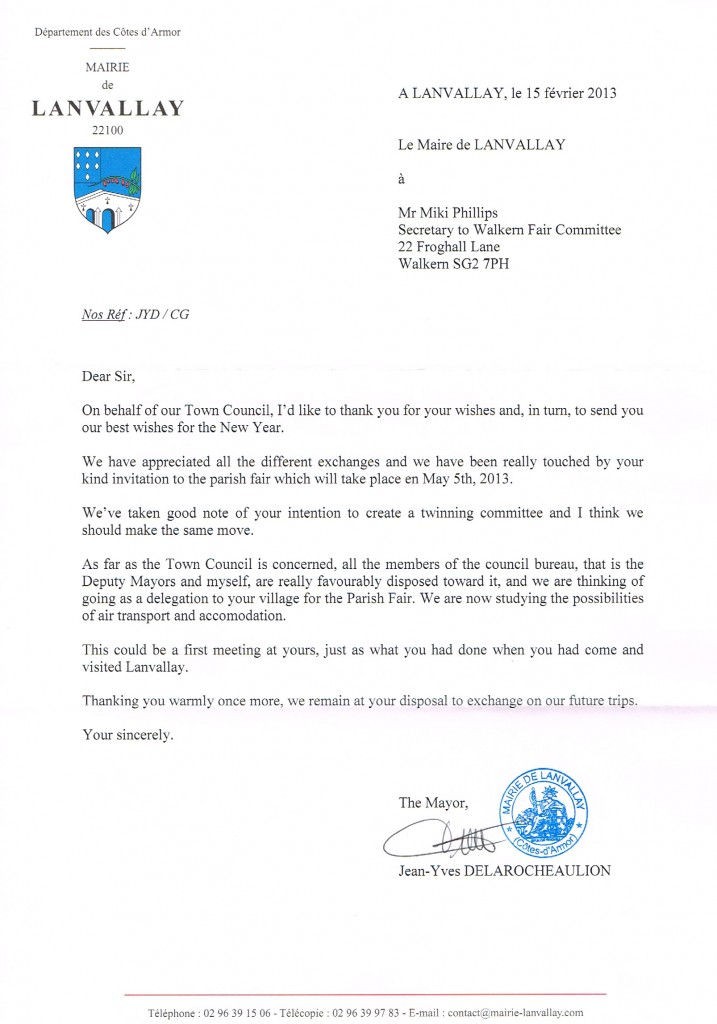 2013 02 18 Response from Mayor of Lanvallay